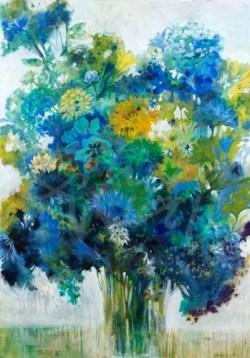 floral, blues, Liz Jardine, seattle art