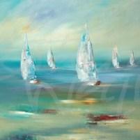 transitional seacscape, sailing, sailboats, nautical, seattle art