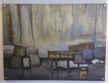 "Pablo Rojero's ""Gold Coast"" on metal with silver and gold leafing"