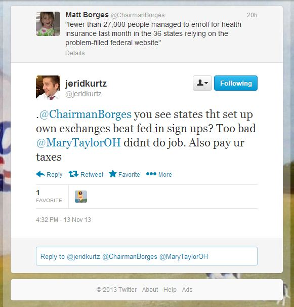 ODP Spokesman Jerid Kurtz says pathetic ACA enrollment is Mary Taylor's fault