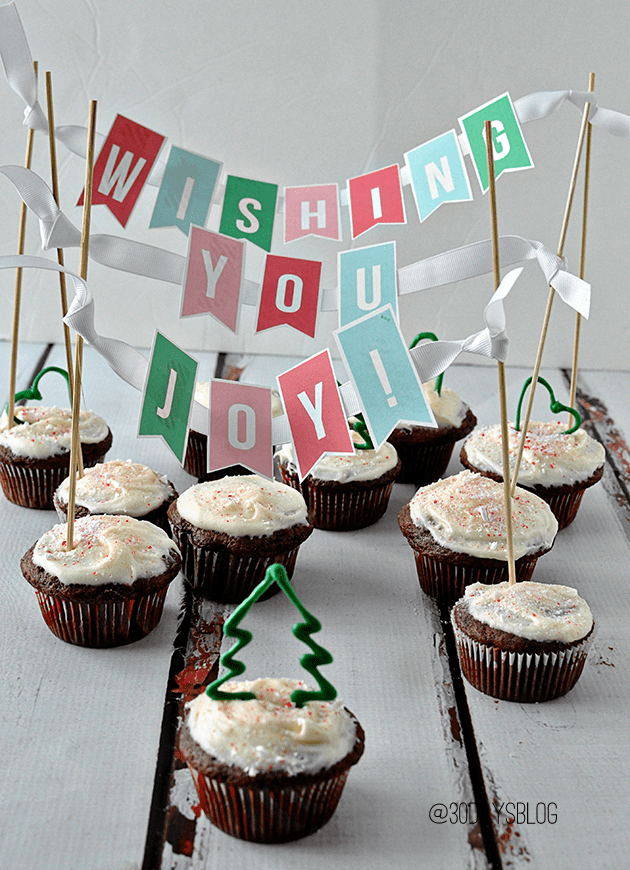 Christmas Cupcake Banner- Wishing you joy available for download via www.thirtyhandmadedays.com