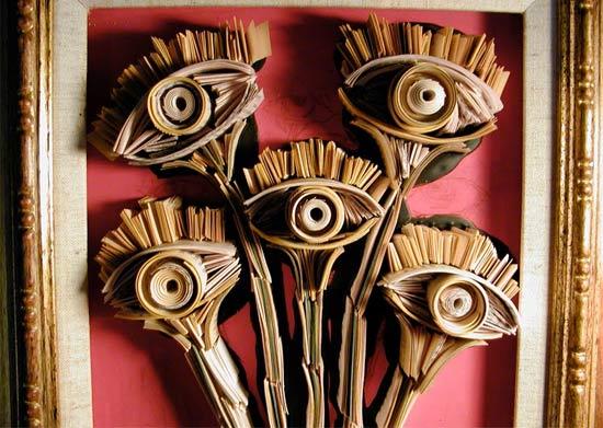 flowers-newspaper-sculpture