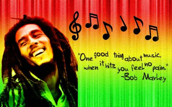 Bob Marley in the traditional reggae and rasta colors.