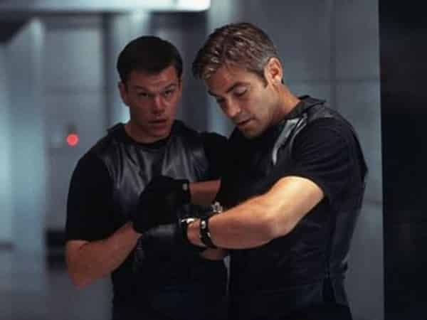 A freeze screen from Ocean's Eleven picturing Danny Ocean and Linus Caldwell, the latter being one of the 6 iconic Matt Damon roles.