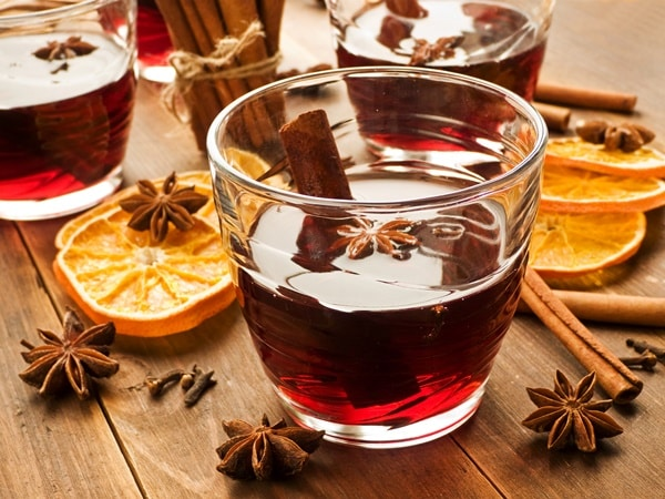 One of the 6 winter holiday drinks is mulled wine like that in the photo.