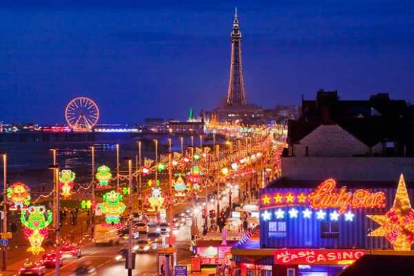 The top must-see destinations in the UK include the city of Blackpool.