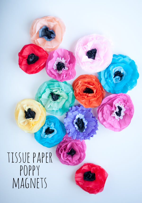 Tissue Flower Magnets 15