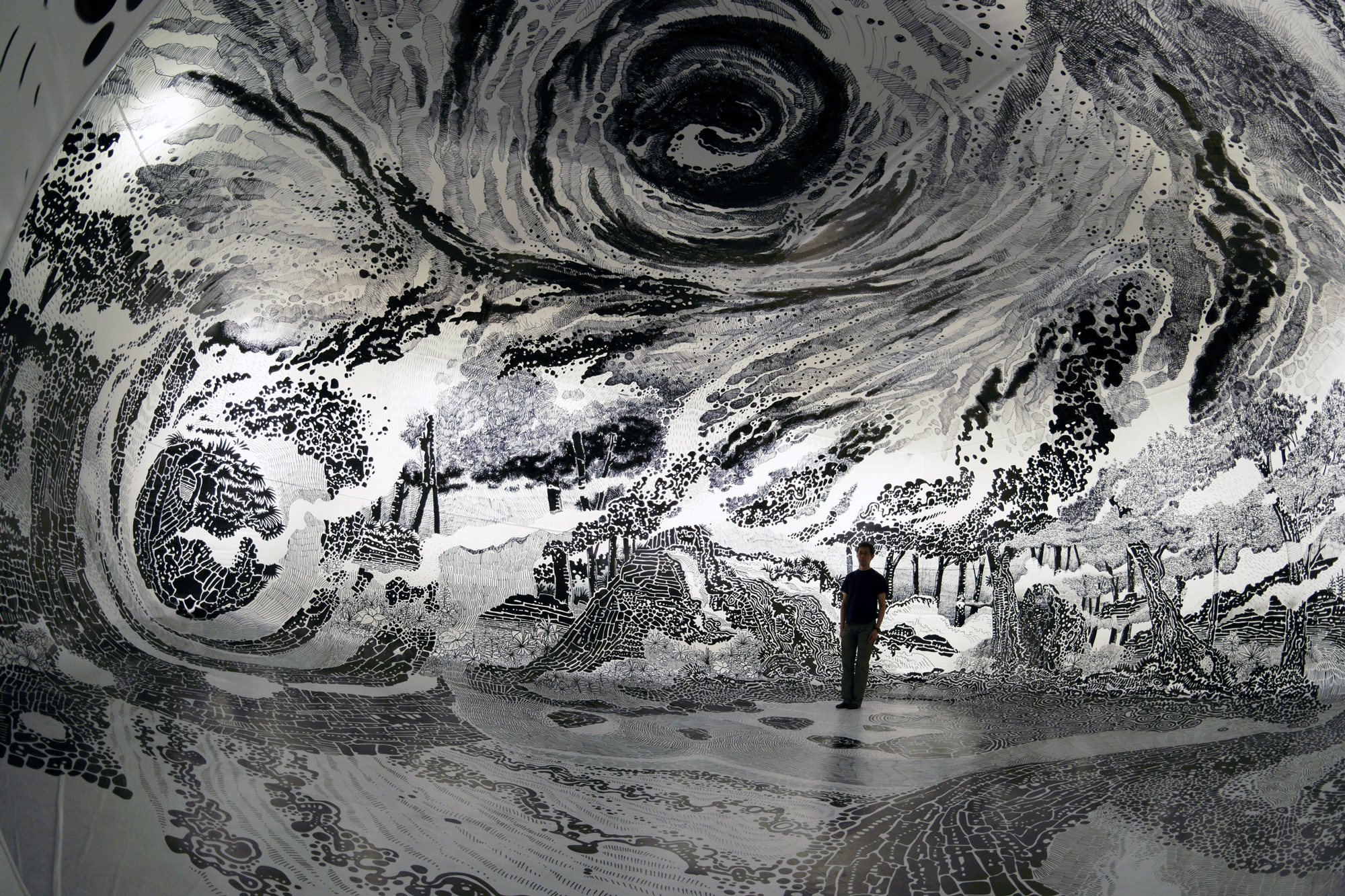 New 360 Degree Immersive Drawing Created With 120 Marker Pens by     For his latest immersive installation  Oscar Oiwa  previously  created a  360 degree black and white drawing that fills the space of an inflatable  vinyl