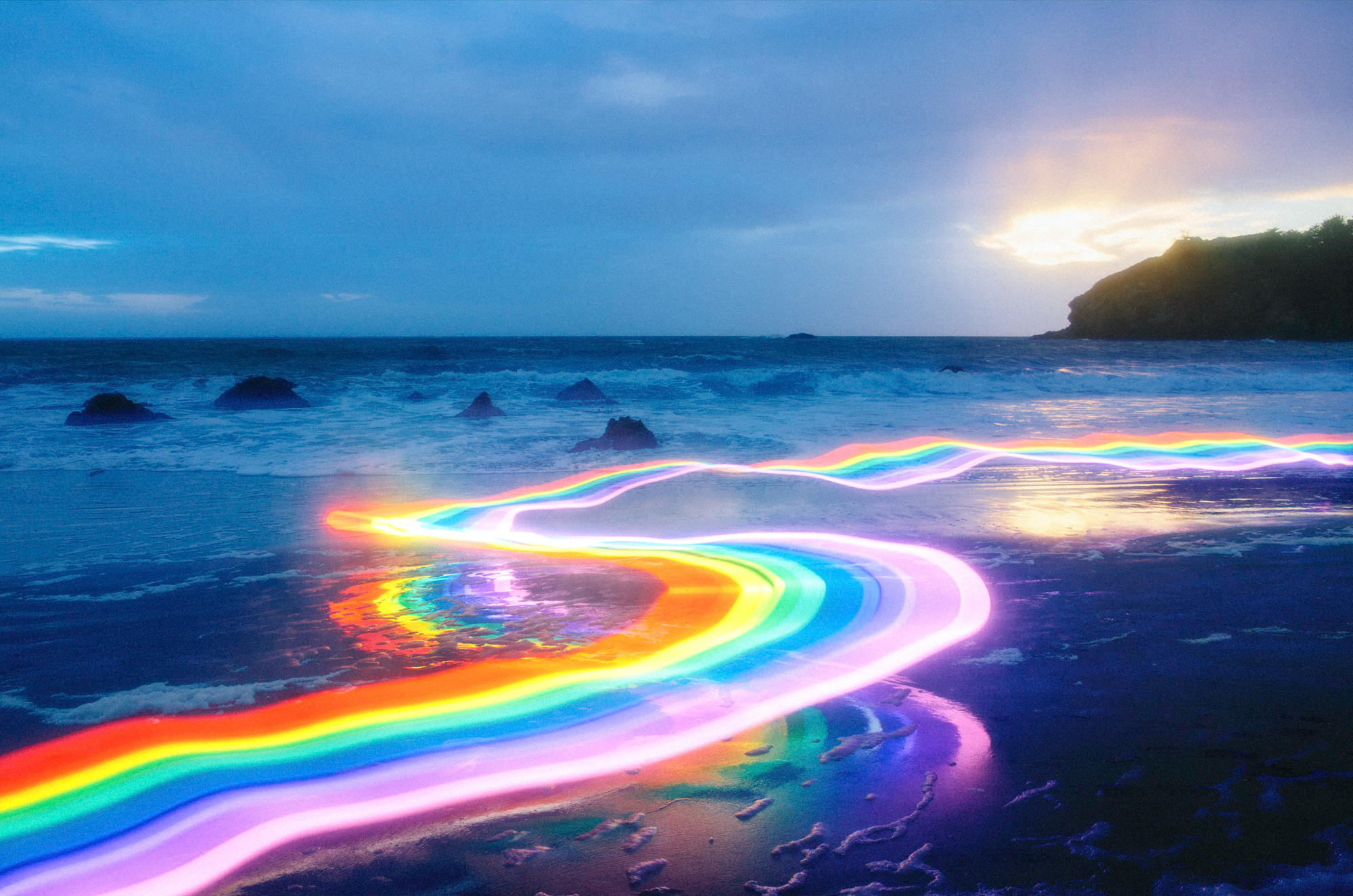 Vivid Rainbow Roads Trace Illuminated Pathways Across Forests and     Daniel Mercadante has a slate of unique films under his belt  made in  partnership with his wife Katina  as The Mercadantes  including Ball and  Breathe