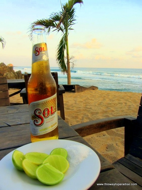 Limes and Sol Beer Zipolite beach winter holidays
