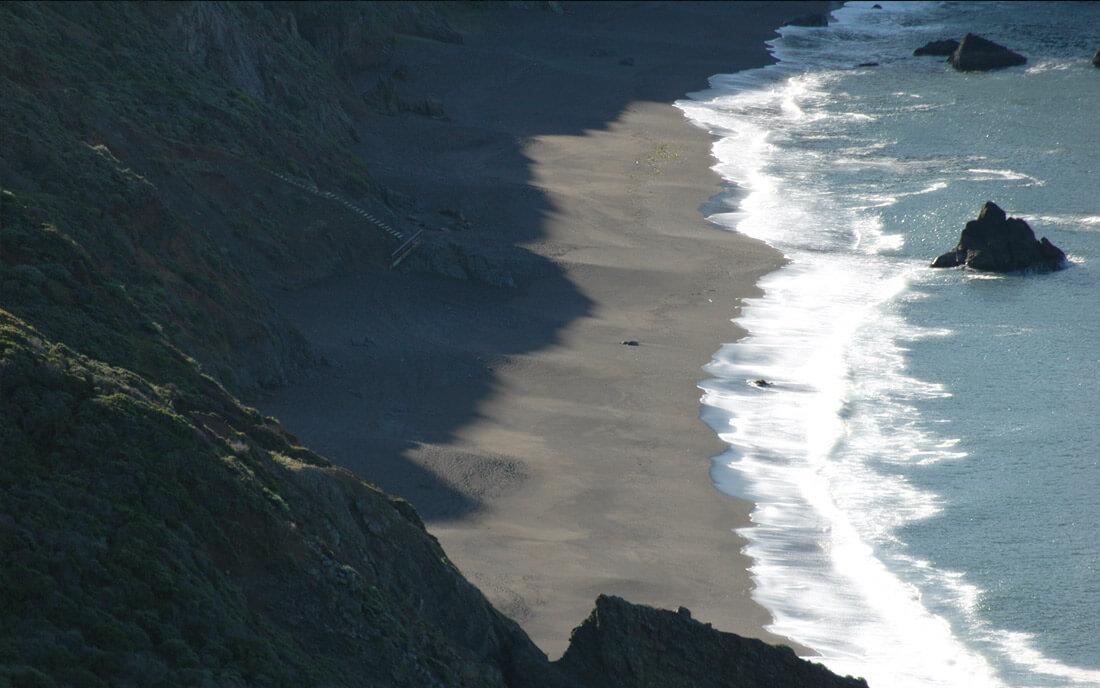 photo of waves on a Marin beach