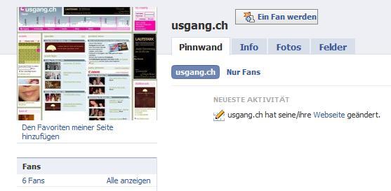 Usgang.ch Facebook Fan-Seite