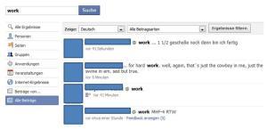 Facebook Status Updates neue Suche
