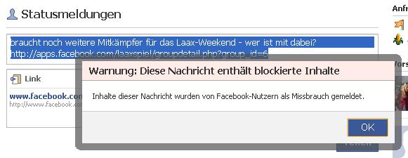 Laax Facebook Warnung 23.11.2009
