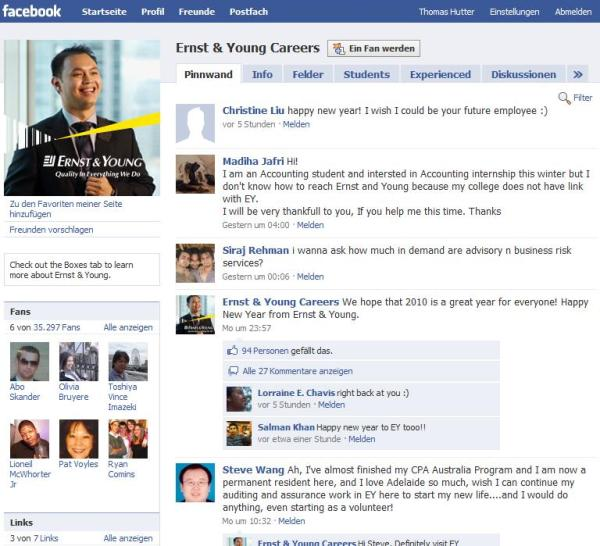 Facebook Fanseite Ernst & Young Careers
