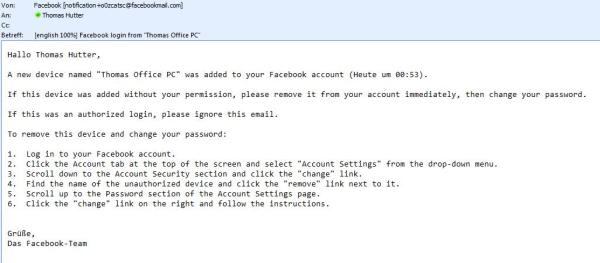 Facebook - Kontosicherheit - E-Mail