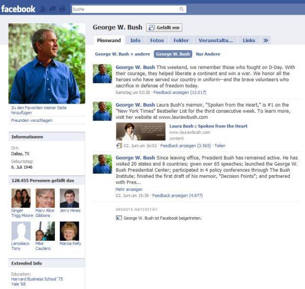 Georg W. Bush auf Facebook