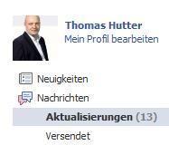 """Facebook """"Aktualisierungen"""" im Nachrichtensystem"""
