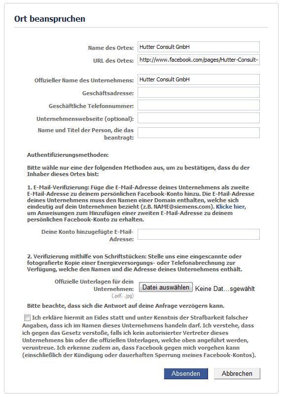 Verifizierungsprozess für Facebook Places