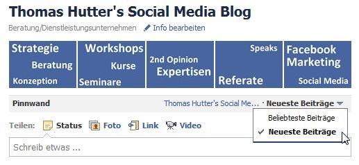 Neuer Pinnwandfilter bei Facebookseiten