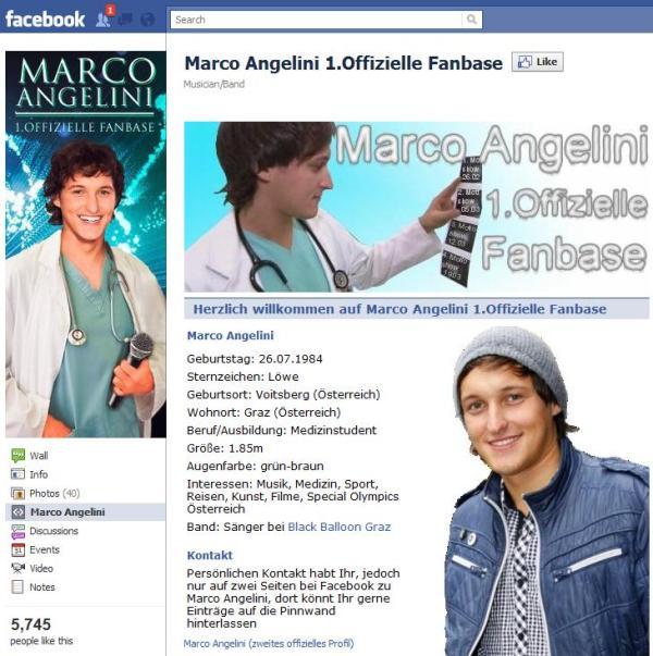 """Eine der vielen """"Marco Angelini"""" Facebookseiten"""