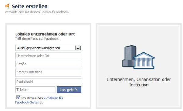 neuer Facebook Place erstellen