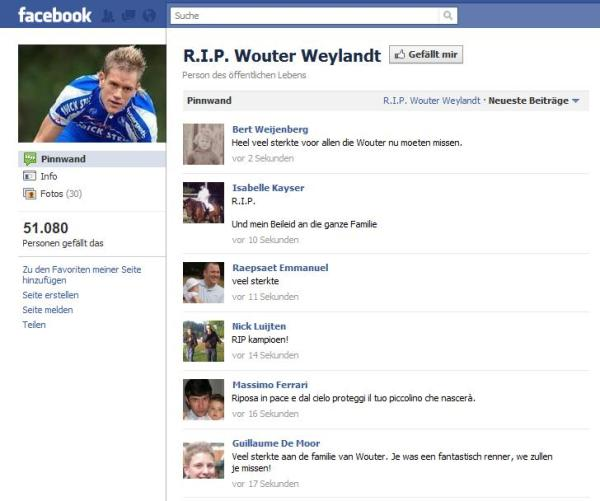 Facebookseite R.I.P. Wouter Weylandt