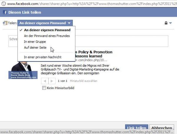 Facebook Share mit erweiterter Funktion