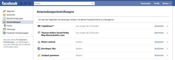 Facebook Kontoeinstellungen: Anwendungen