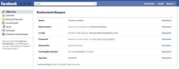 Facebook Kontoeinstellungen: Allgemeine Einstellungen
