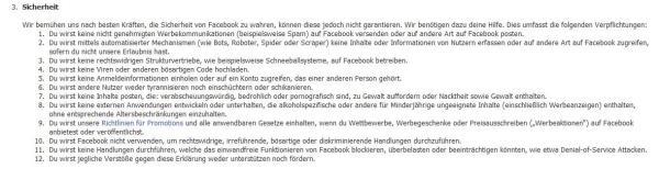 Auszug aus den Nutzungsbedingungen von Facebook