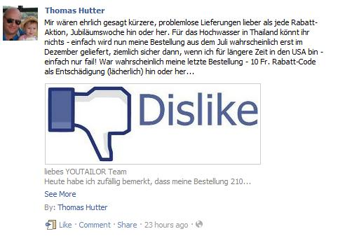 Pinnwandbeitrag youtailor-Facebookseite