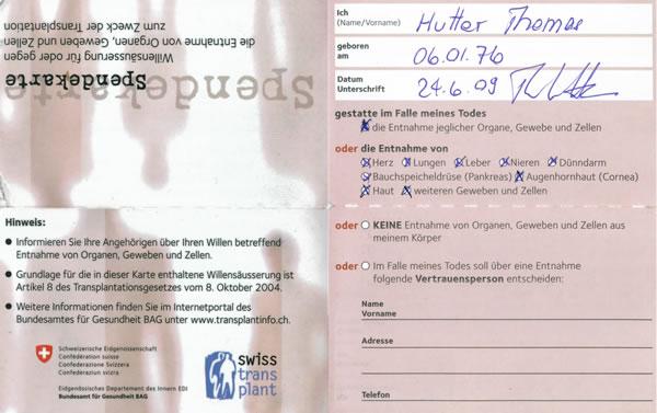 Organspenderausweis in der Schweiz