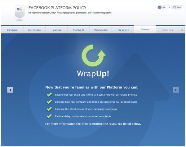 Facebook Platform Policy - Summary