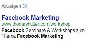 Beispiel GoogleAdWords Anzeige