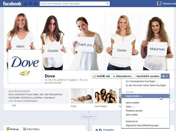Dove - Beispiel einer Seite mit der neuen Seitenstruktur