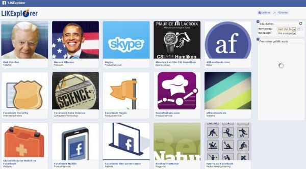 LIKExplorer im AppCenter von Facebook