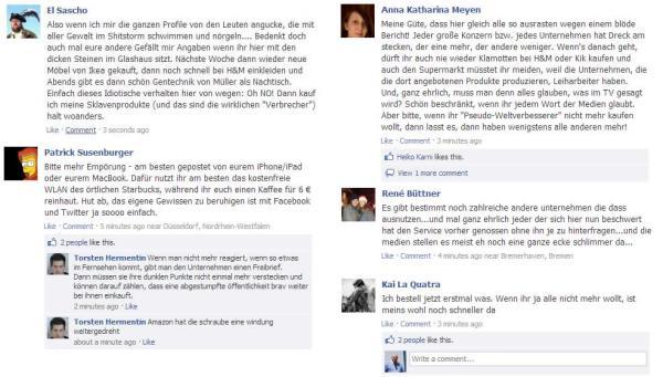 Nicht negative Kommentare auf der amazon.de Facebook Seite