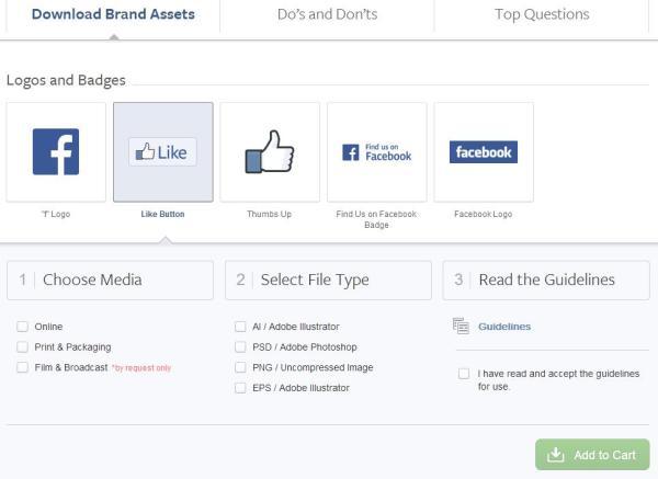 facebookbrand.com - Downloadmöglichkeiten für Logos und Symbole