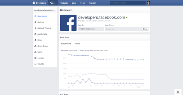 Redesign Developer Page (Quelle: Facebook)