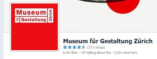 """Facebook Seite """"Museum für Gestaltung Zürich"""""""