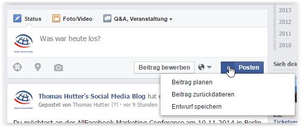 """Auswahlmenü bei """"publizieren"""" auf Facebook Seiten"""