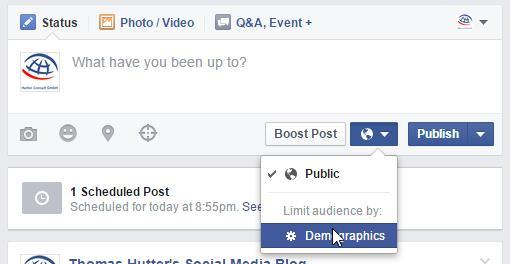 Post-Gating bei Beiträgen von Facebook Seiten