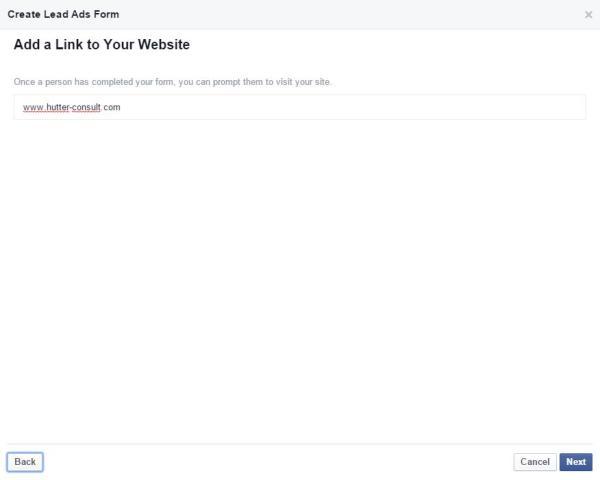 Link zur Website in Facebook Lead Ads