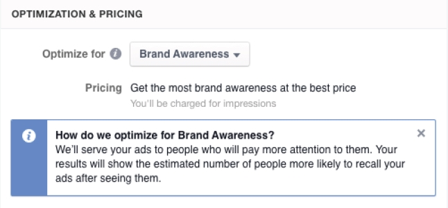"Optimierungsvariante ""Brand Awareness"" (Quelle: Facebook)"