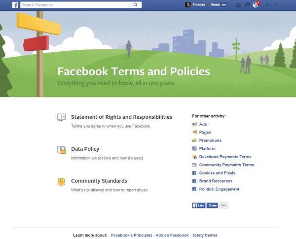 Alle Richtlinien von Facebook findet man auf facebook.com/policies