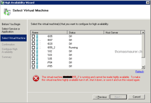 Windows Server 2008 R2 Make Virtual Machine Highly Available