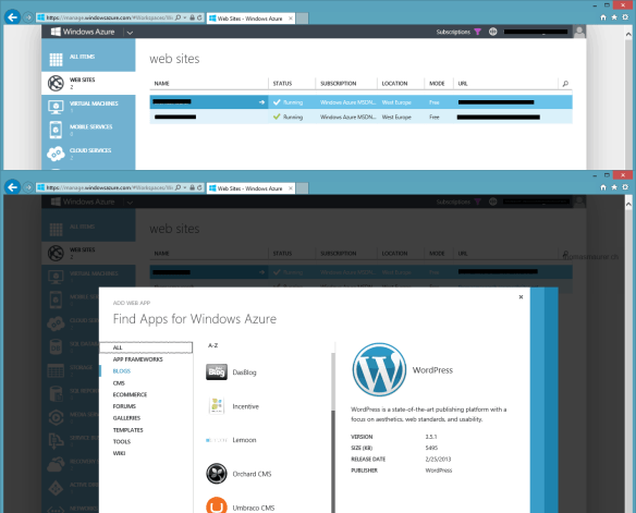 situs Windows Azure WordPress