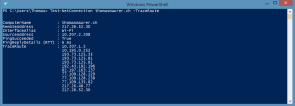 Test-NetConnection PowerShell Traceroute