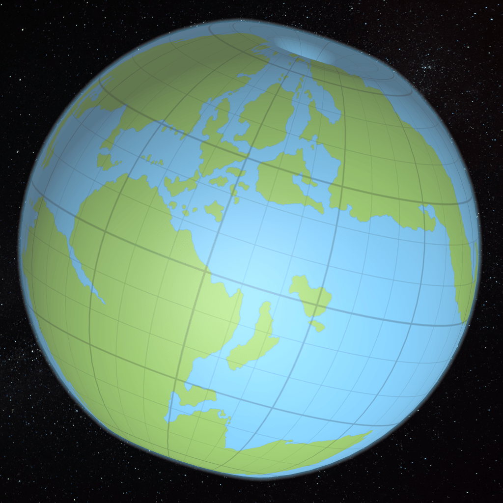 The revised texture map applied to the 2012 globe model